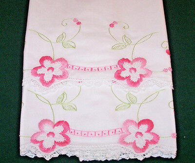 PRETTY VINTAGE PINK FLORAL EMBROIDERED PILLOWCASES, CROCHETED TRIM, c1930