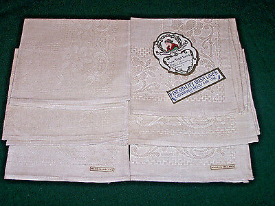 "6 Vintage Irish  Linen Napkins, 12"", Floral Pattern, Never Used, Original Tag"