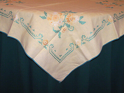 VINTAGE LEMON YELLOW LINEN CROSS STITCH TABLECLOTH, TOPPER, NEVER USED, c1940