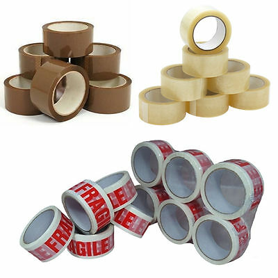 6 & 12 ROLLS OF STRONG BROWN & CLEAR PACKING TAPE - 48mm x 66m Big Rolls Parcel