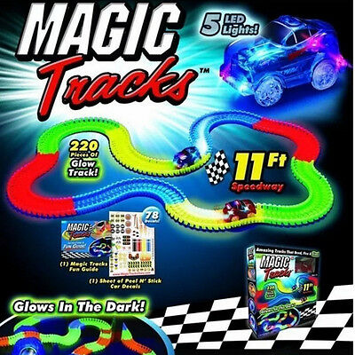 MAGIC TRACKS DIY 240 Glow in the Dark LED LIGHT UP RACE CAR Bend Flex Racetrack