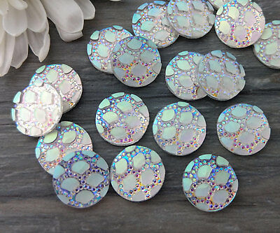 AB Scale Print Mermaid Dragon Skin Cabs Colour Changing Cabochons FBC122