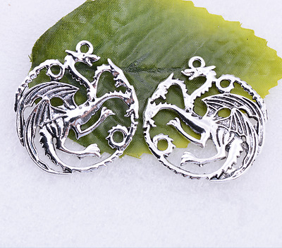 Tibetan silver beautiful the ancient dragon charm pendant 35x33mm #5398