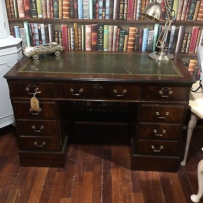 Vintage Captain's Dark Wood with Green Leather Writing Desk - 229