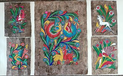 Amate Bark Mexican Folk Art Paintings - Purchased in Mexico 1981 - 5 Pieces