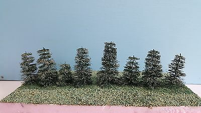 "8 Smaller Hand Made Softwood Trees 1 1/2"" to 3"" Tall HO & N Scale Layouts (STS1)"