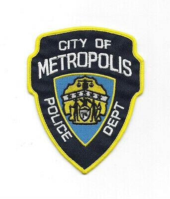 Superman City of Metropolis Police Department Logo Embroidered Patch, NEW UNUSED
