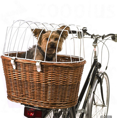 Dog Bike Basket Bicycle Pet Carrier Hand Woven Wicker w/ Plastic Wire Guard NEW