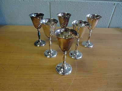 Set of 6 Vintage Silver Plate on Brass Wine Goblets