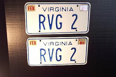 1980 Virginia Matching Pair Automobile License Plate Car Tags Personalized RVG 2