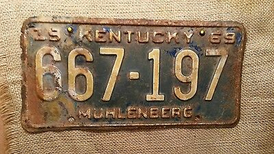 1969 Kentucky Automobile License Plate Tag Hot Rod Muhlenberg County 667-197