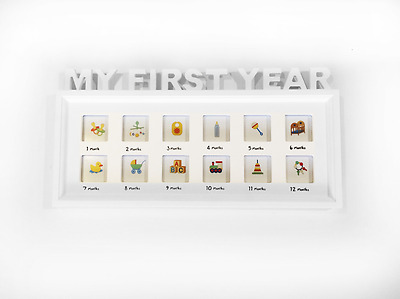 My First Year New Baby Monthly Picture White Photo Frame Nursery Decoration Gift