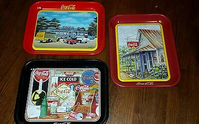 Lot Of 3 Coca-Cola Coke Metal Trays One 1990 and Two 1994