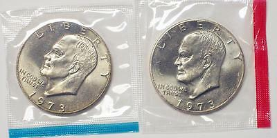 1973 P & D Brilliant Uncirculated Eisenhower Silver Dollar Coin Mint Packaging