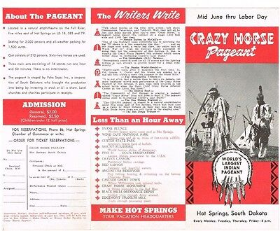 Crazy Horse Pageant Hot Springs South Dakota SD Travel Brochure Vintage 1950's