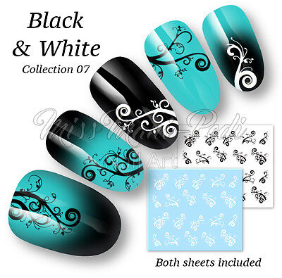 Spirals Swirls Nail Water Decals Stickers for Nails Black & White B038 Multipack