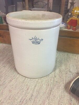 Antique Vintage Blue King Crown 6 Gallon Crock Pottery Stoneware