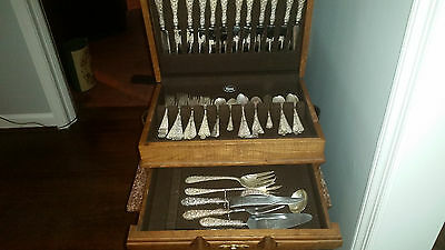 Stieff Rose Pattern Sterling Silver Flatware Repousse Service for 12, 74 pieces