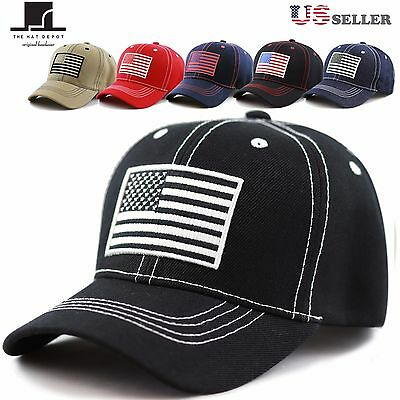 d6a717d58 UNISEX USA FLAG Contrast Stitching One Size Tactical Baseball Cap