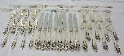 Wallace Grand Baroque Sterling Silver Flatware Set Service 8 4-Pc Place Settings