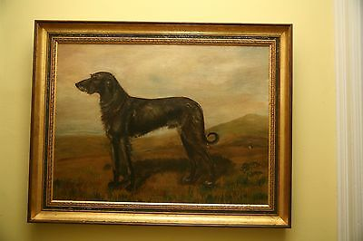 "1911 Oil Painting of Irish Wolfhound ""Jim"" by J. Foster with pedigree"