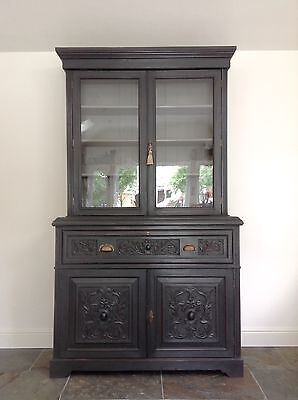 Antique Walnut Secretaire Bookcase Chest Cabinet Writing Desk Hand Painted Grey