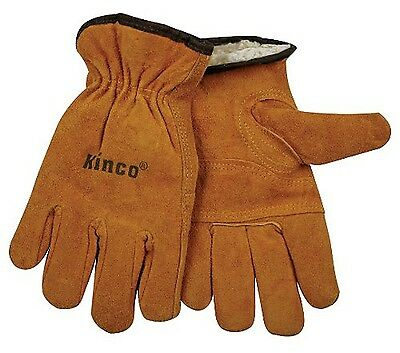 Kinco Suede Leather Insulated Pile Lined Thermal Winter Work Gloves Size Medium