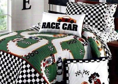 New Race Car Reversible Quilt 100% Cotton Track Single Authentic Kids Twin