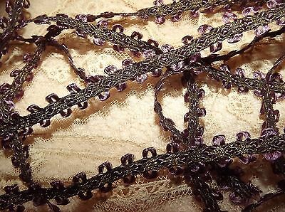 "2.3 yds  ANTIQUE Gold METALLIC & PURPLE SILK TRIM Picot Braid VINTAGE 83""  7/16"""