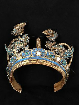 Rare 19th Century, Late Qing Dynasty, Chinese Crown Kingfisher Feathers, Dragons