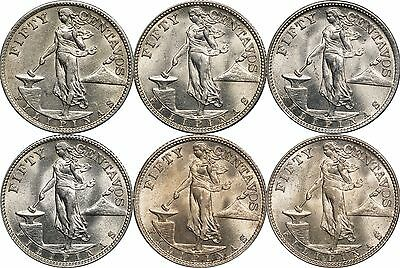1944-S Philippines 50 Centavos, Lot of (6) AU / BU Coins
