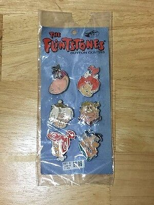 THE FLINTSTONES Button Covers 1994 Set of 6 Fred Wilma Pebbles Barney Bam Bam