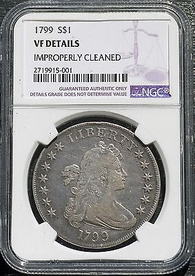 1799 US Draped Bust Dollar NGC VF Details Improperly Cleaned