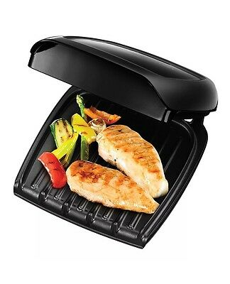 George Foreman 18850 Three 3 Portion Compact Grill Black and Drip Tray NEW