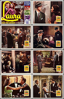GENE TIERNEY And DANA ANDREWS In LAURA Full Set Of 8 Indiv 11x14 LC Prints 1944