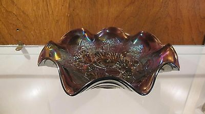 """IMPERIAL ☆ Purple Pansy Ruffled Carnival Bowl ☆ 9"""" Across"""