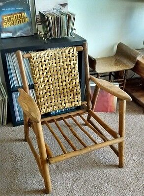 Mid Century Old Hickory Wide Arm Lounger Club Chair Rustic Lodge Rare Furniture