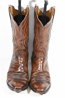 Lucchese Handmade Mens 12 B Brown Goat Leather Cowboy Ropers Western Boots