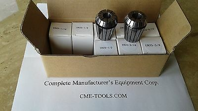 "10pcs ER25 Collets set, 1/16"" to 5/8"" by 1/16th increase, #ER25-SET10--brand new"