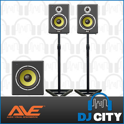 """Pack Pair 6"""" AVE Active Studio Monitors with 10"""" Studio Sub for Production, DJs"""