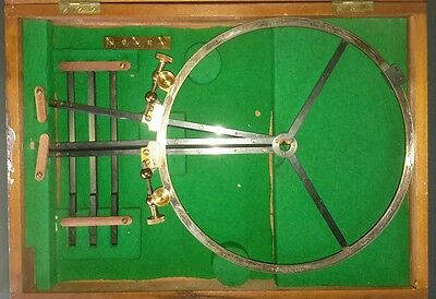 Antique Brass Arm Protractor Sextant Marine Wooden Case Nautical Map Navy Marine