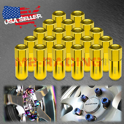Gold 20 PCS M12X1.5mm Lug Nuts Extended Tuner Aluminum Wheels Rims Cap WN02