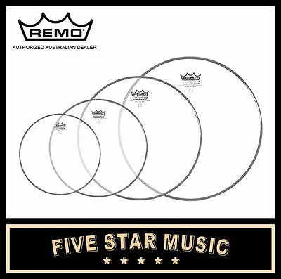 """Remo Ambassador Clear Fusion-Esque 4 Pce Drum Skin Pack 8"""" 10"""" 12"""" 16"""" Heads"""