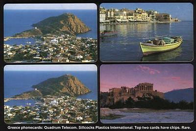 Quadrum (2 With Chips And 2 Without) Boat, City, Mountain. 4 Cards Phone Card