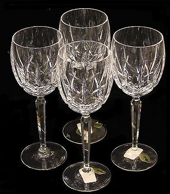 """Set 4 Vintage Waterford Irish Cut Glass Crystal Mourne White Wine Goblets 8 1/2"""""""