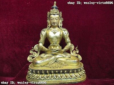 Tibet Red Copper Bronze 24K Gold Gilt longevity Amitayus Avalokitesvara Buddha