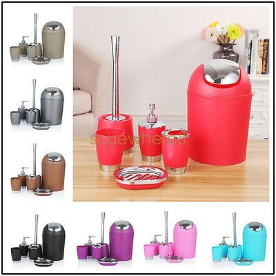 Set of 6 Bathroom Accessory Tumbler Toothbrush Bin Soap Dish Dispenser Holder