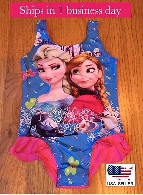 Frozen Elsa Anna Girls One Piece Swimsuit ~Sz Small (2T/3T) ~ BRAND NEW
