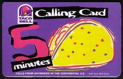 5m Taco Bell Restaurant Promo 'Calling Card' 1994 (Paper) Phone Card