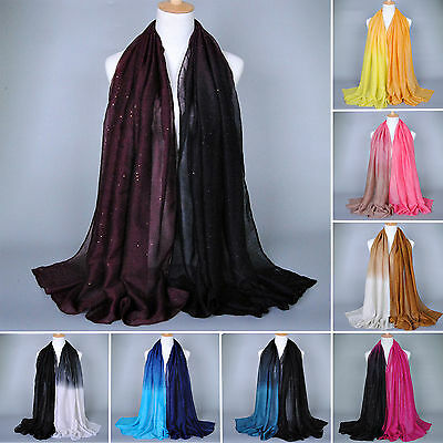Women Long Cotton Shade Pashmina Hijab Shawl Scarf Voile Scarves Stole Soft Wrap